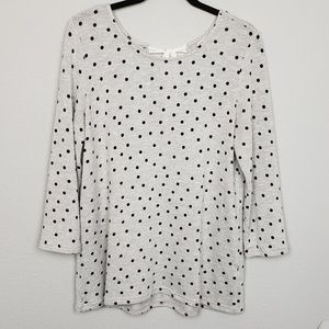 pixley gray polka dot sweater size medium